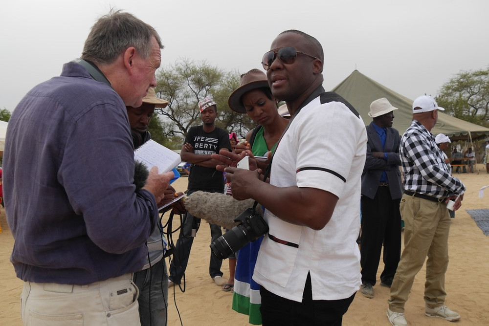 BBC journalist Robin Denselow with festival organiser and the two 'fixers' for FP engagement, Santjie Tsowases and George Garad (Photo: Angela Impey 051116)