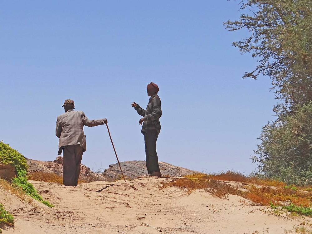 Cousins Franz |Haen ||Hoëb (L) and Noag Mûgagara Ganaseb find their bearings as we re-visit former dwelling places in the lower reaches of the Hoanib River (photo: Sian Sullivan, 221115).
