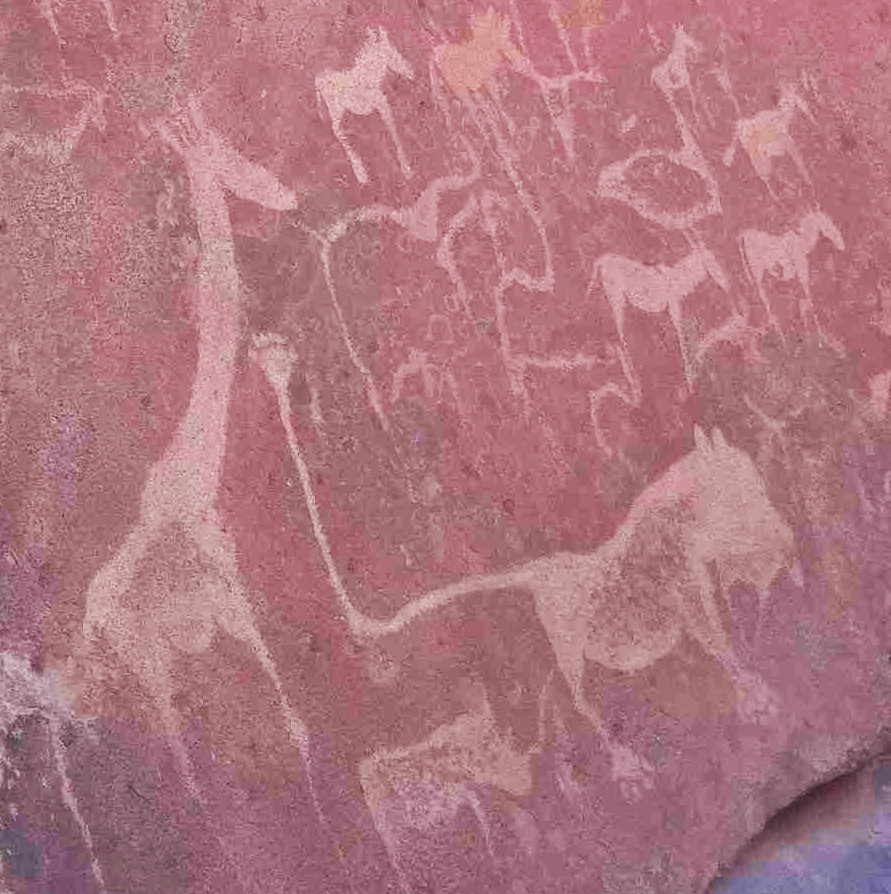 A human hand emerges from the tail of a lion featuring in the petraglyphs of Twyfelfontein World Heritage Site in west Namibia (photo: Sian Sullivan, 210314)