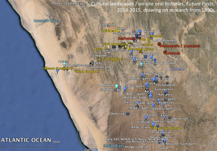 Preliminary map of place names in the land areas of (mainly) ≠Khari ||Hurubes, Aogobus and Hoanib recorded through on-site oral histories in 2014 and 2015. The blue markers indicate natural springs, and the black dots are former dwelling sites.