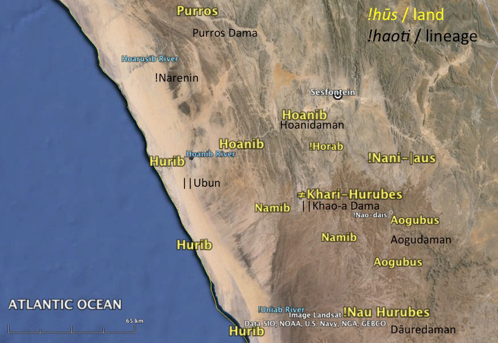Land areas (!hūs) and associated Khoe-speaking lineages (!haoti) in west Namibia.
