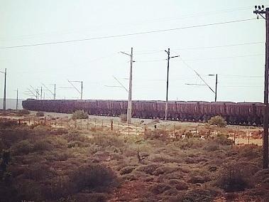Iron ore train from Sishen to Saldanha. Photo: Sian Sullivan 060917.