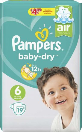 Pampers Baby Dry Extra Large Size 6 Nappies PM £4.99