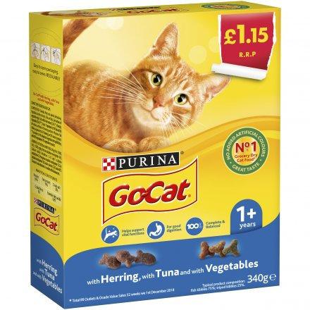 Go-Cat Adult Dry Cat Food Tuna Herring And Veg PM £1.15