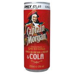 Captain Morgan Original Spiced & Cola 250ml PMP £1.69