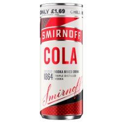 Smirnoff & Cola Vodka Mixed Drink 250ml PMP £1.69