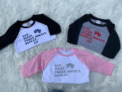 "Kids ""Eat. Sleep. Power Wheels. Repeat."" Shirt"