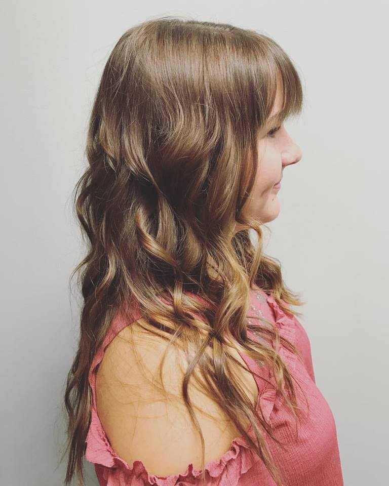 Long hair, bangs, and waves