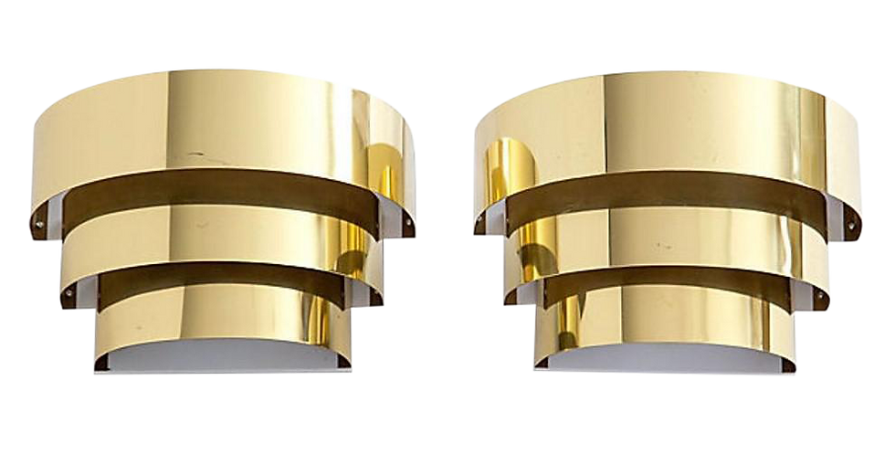 Vintage Tiered Brass Sconces - A Pair