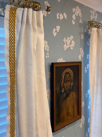 custom window treatments, lucite hardware, blue floral wallpaper in dining room