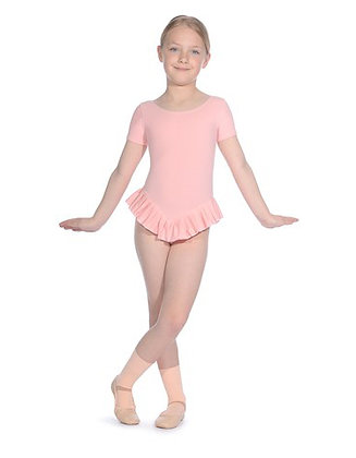 Pink Short Sleeved Leotard with Frill