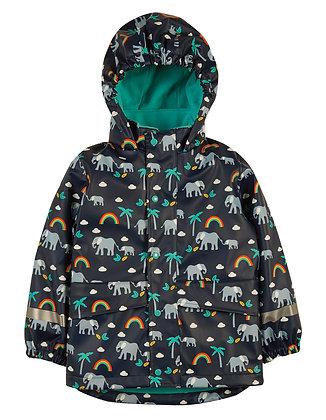 Frugi Puddle Buster Coat - Indigo/Rainbow Walks