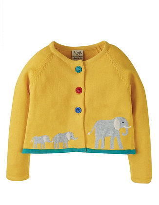 Frugi Little Annie Applique Cardigan - Yellow/Elephant