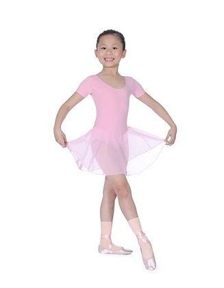 Pink Cotton Leotard with Skirt