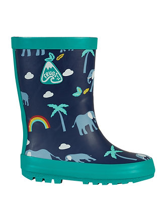 Frugi Puddle Buster Wellington Boots - Indigo/Rainbow Walks