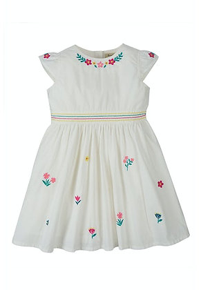 White Floral Dress with Bow
