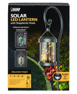 FEIT Electric Black Metal 12 in. H Round Coach Lantern Solar Garden Stake