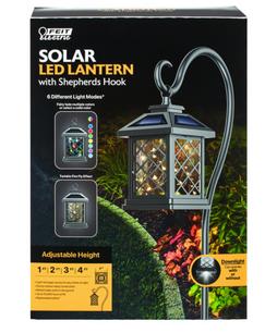 FEIT Electric Black Metal 12 in. H Square Coach Lantern Solar Garden Stake
