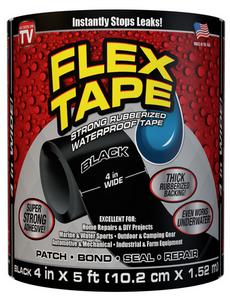 FLEX TAPE 4 in. W x 5 ft. L Black Waterp