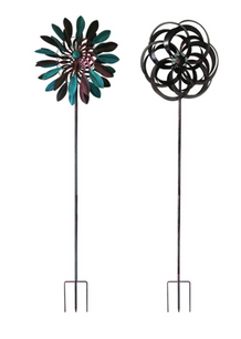 Infinity Assorted Iron 72 in. H Kinetic Garden Spinner with Solar Light