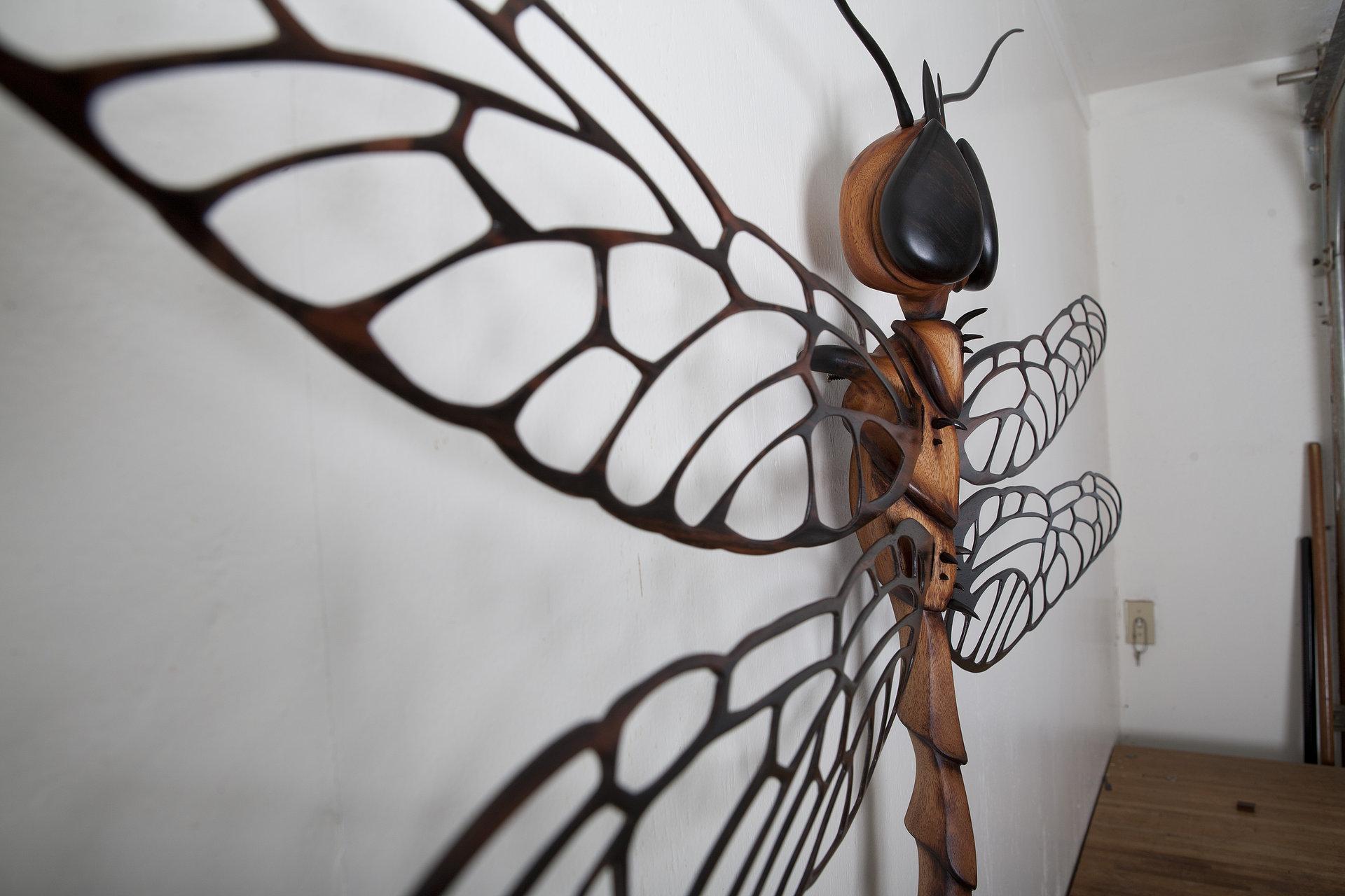 Wooden Dragonfly Sculpture