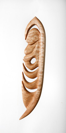 Yipwon spirit figure , Quilted Maple