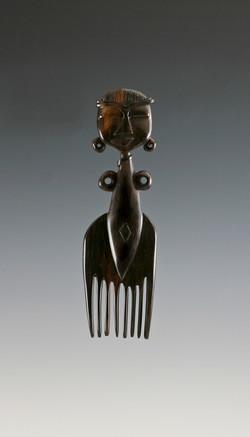 African Wood Comb Sculpture