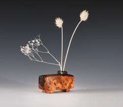Contemporary sculpture wood pot vase