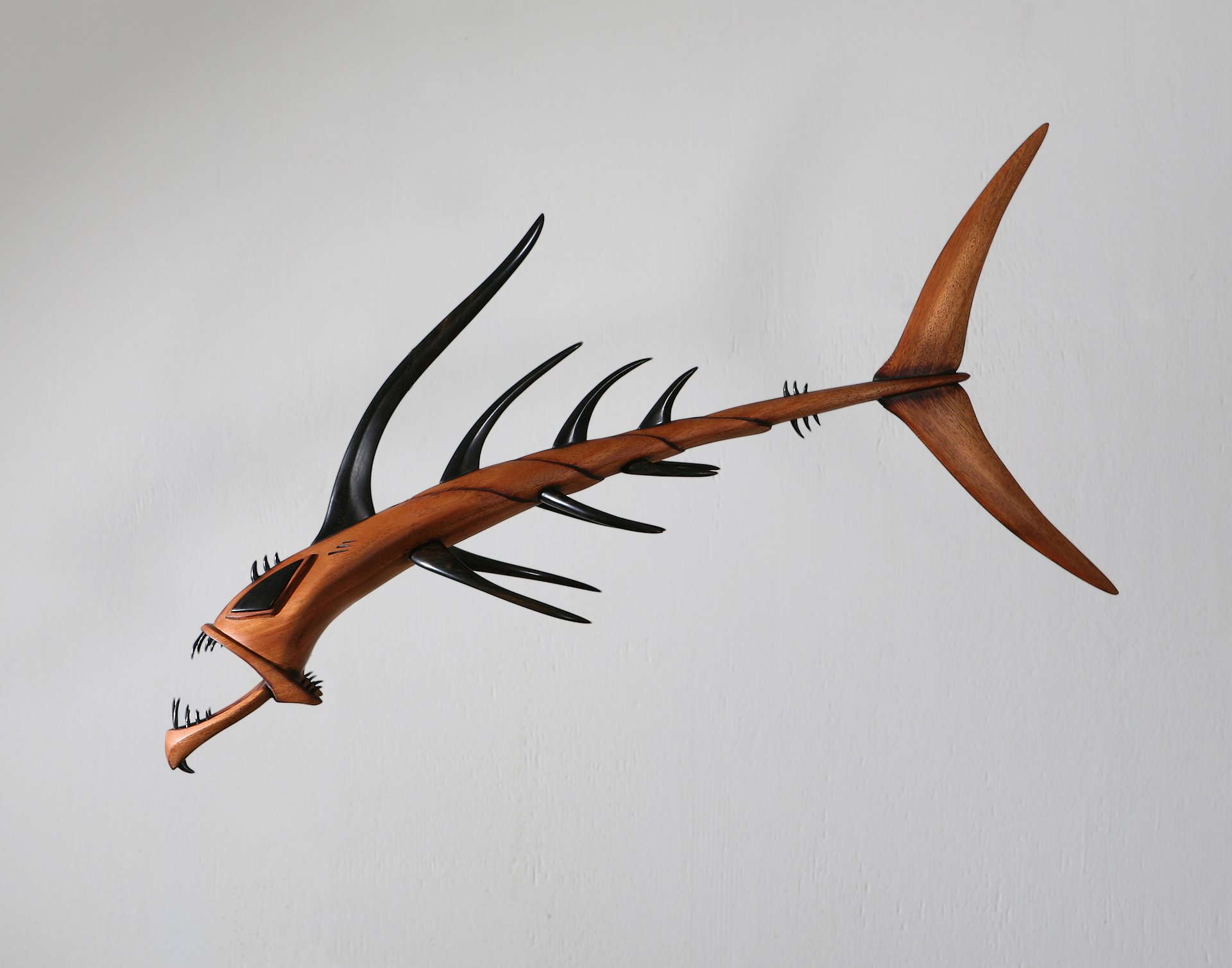 Wooden Dragon Fish sculpture