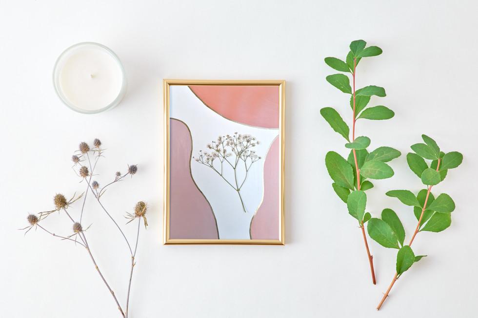 Tableau de peinture & fleurs de gypsophile séchées