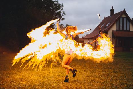 Peacock Fire at Karen and James' wedding