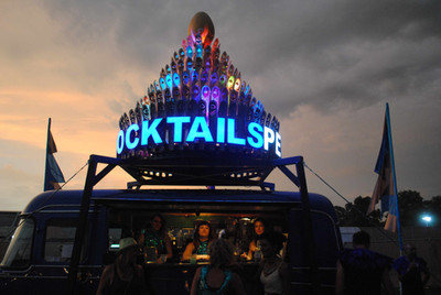 Peacocktails by night at Lovebox