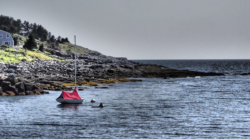 Red Boat at Anchor