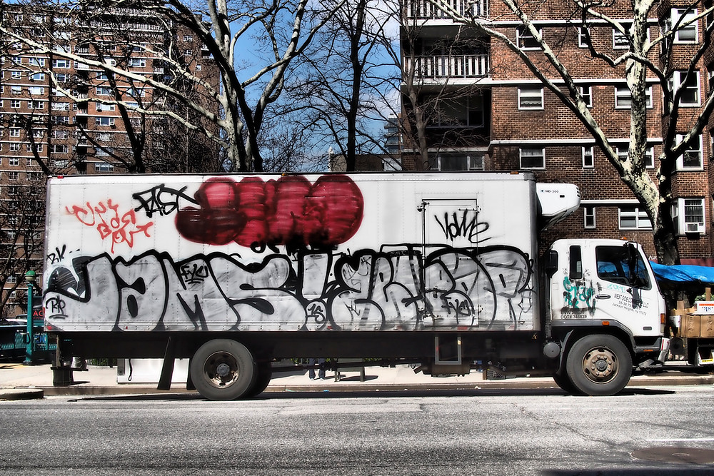 Truck with graffiti in Chelsey