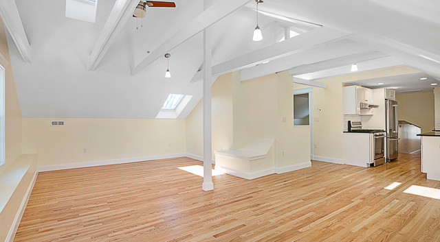 12 ft loft ceilings, skylights