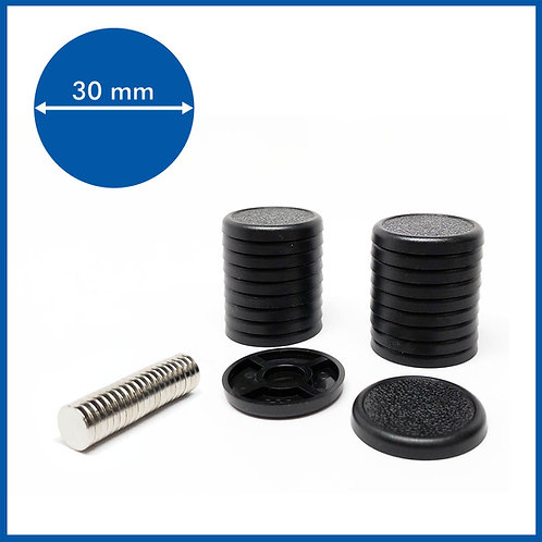 Round Lipped - 30mm Base with included Magnets - 20 Pack