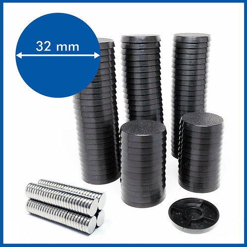 Round - 32mm Base with included Magnets - 100 Pack