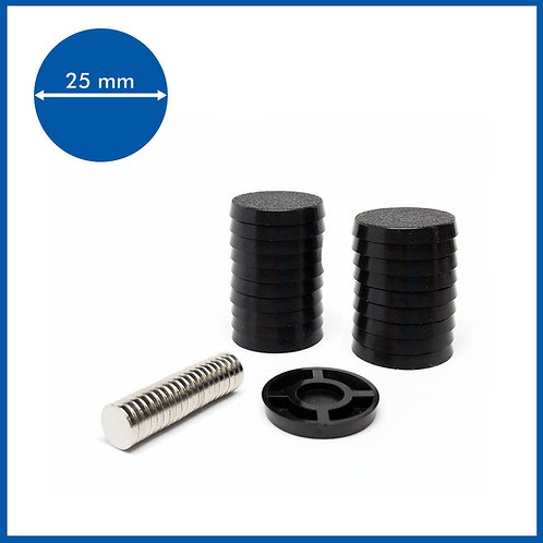 Round - 25mm Base with included Magnets - 20 Pack