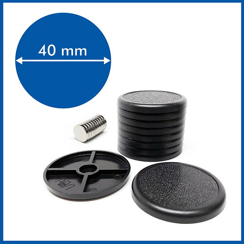 Round Lipped - 40mm Base with included Magnets - 10 Pack