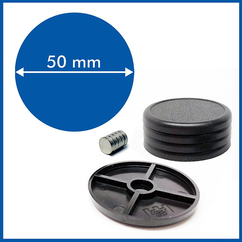 Round Lipped - 50mm Base with included Magnets - 5 Pack