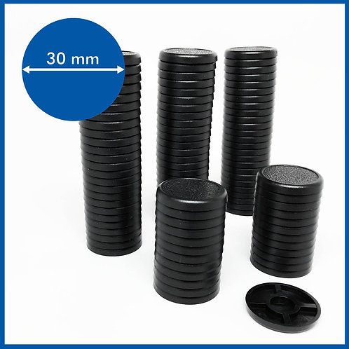 Round Lipped - 30mm Base - 100 Pack