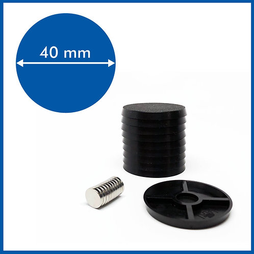 Round - 40mm Base with included Magnets - 10 Pack