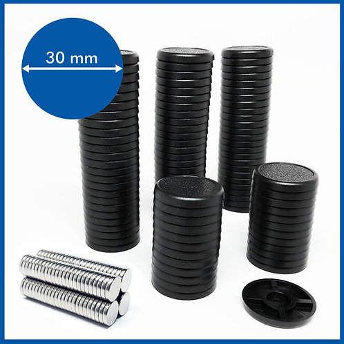 Round Lipped - 30mm Base with included Magnets - 100 Pack