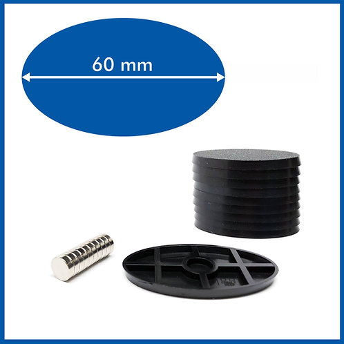 Oval - 60mm Base with included Magnets - 10 Pack