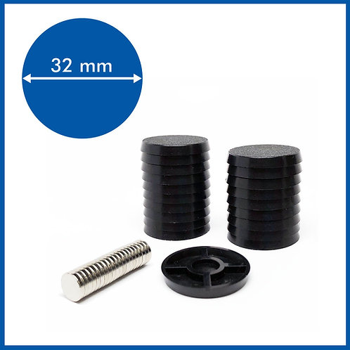 Round - 32mm Base with included Magnets - 20 Pack