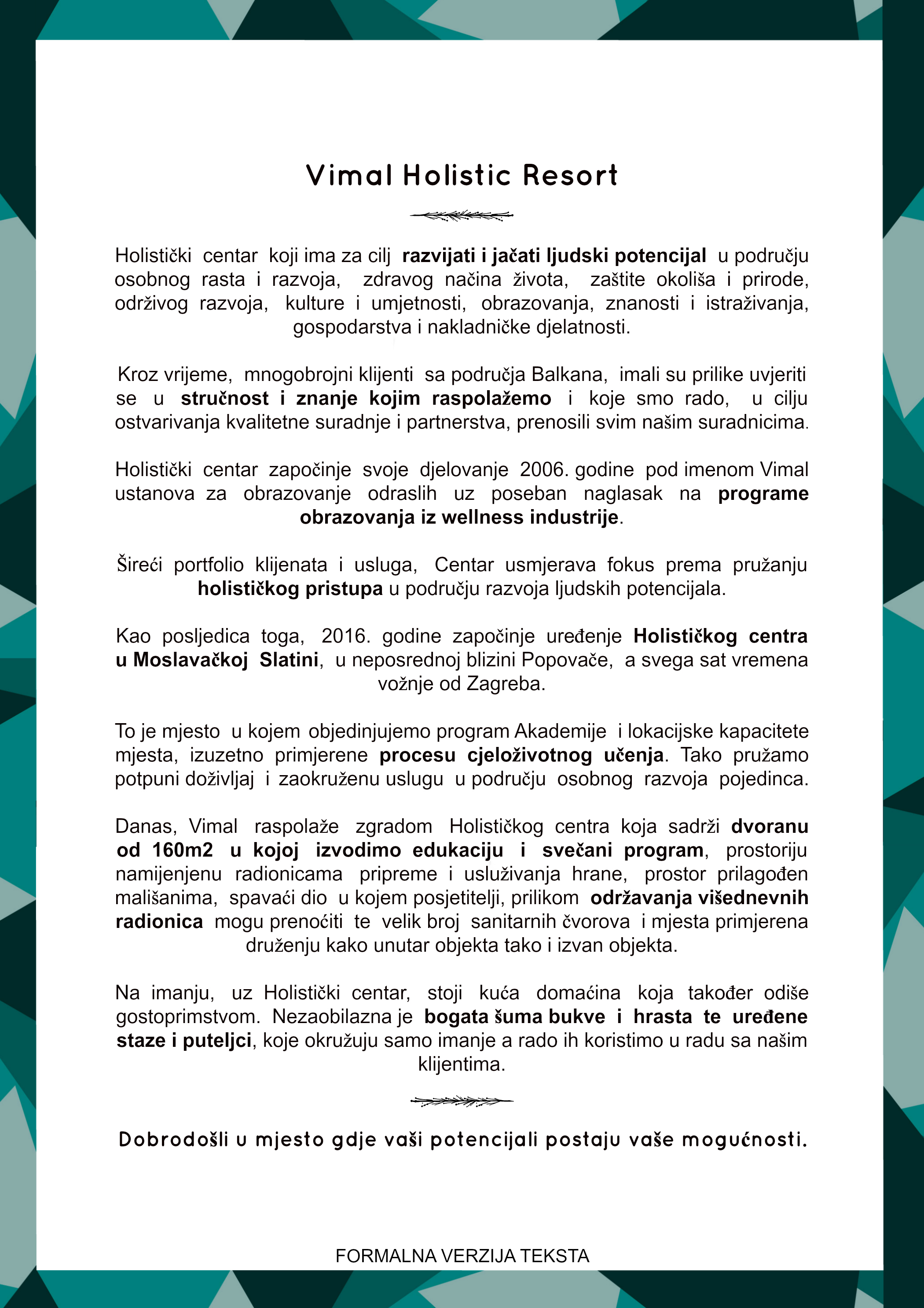 Formalni tekst o predstavljanju