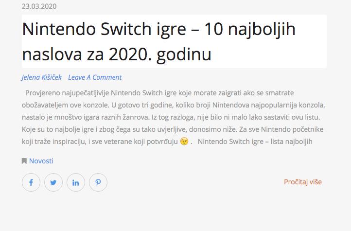 Nintendo Switch igre – 10 najboljih naslova za 2020. godinu