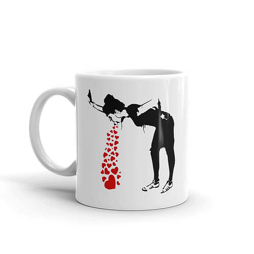 Banksy Lovesick Girl Throwing Up Hearts Artwork Mug