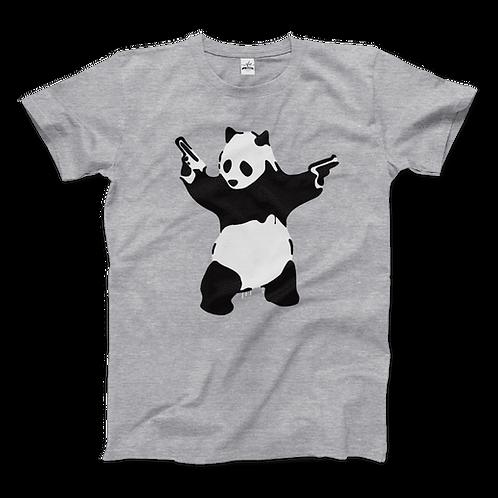 Banksy Pandamonium Armed Panda Artwork T-Shirt