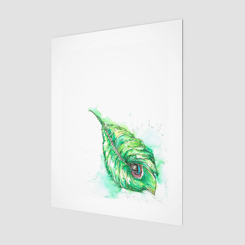 Art Print . Peacock Leaf